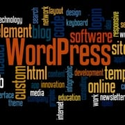 WordPress word cloud concept on black background.